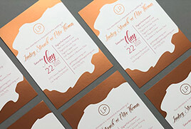Rose Gold Digital Foil Wedding Invitations