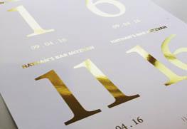 Digital Gold Foil Table Number